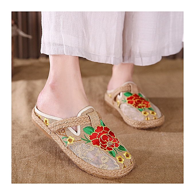 Fashion Round Toe Hollow Out Casual Flax Flower Flat Loafers For femmes à prix pas cher    Jumia Maroc
