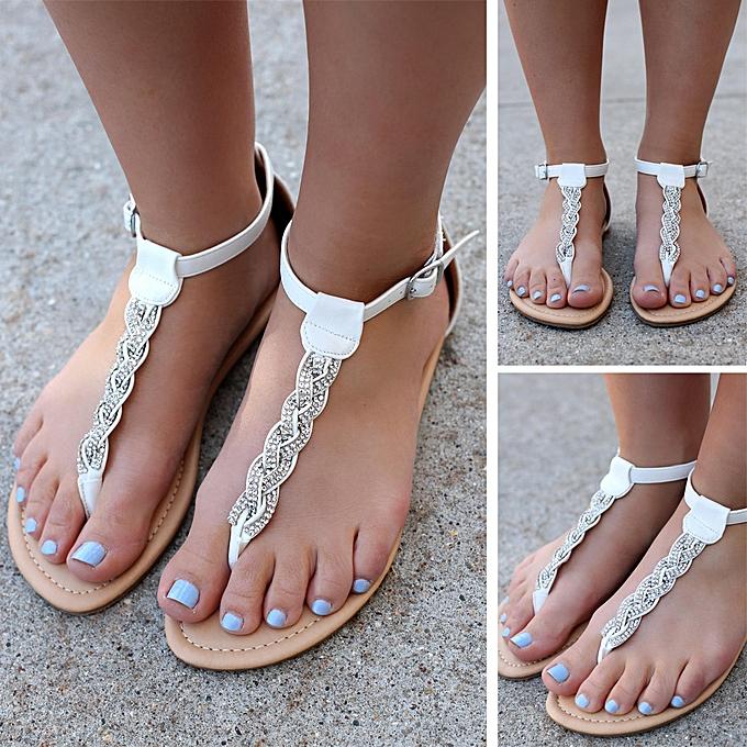 Fashion Xiuxingzi Wohommes Ladies Summer Crystal Flat Flip Flops Beach Sandals Rohomme chaussures à prix pas cher