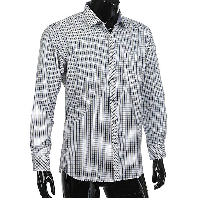 Fashion jiuhap store Men's Classic Plaid Long Sleeve Business Formal Shirts Clothing Blouse WH 38 à prix pas cher