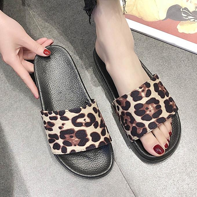 mode whiskyky store femmes Leopard Print Slippers Décontracté chaussures Slides Bathroom été Sandals Slipper-Beige à prix pas cher
