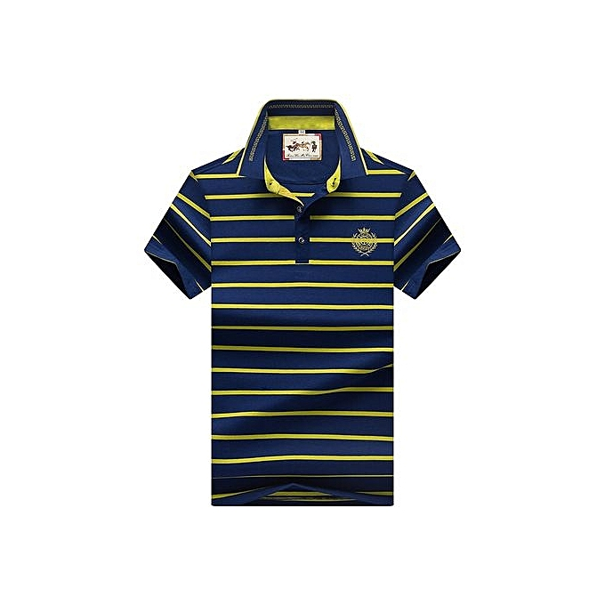 Generic Refined Super Big Taille 8097  Men Polo Shirt New Cotton Summer Striped Polo Men Business Casual Men's Clothing Short-sleeved Polo - vert à prix pas cher