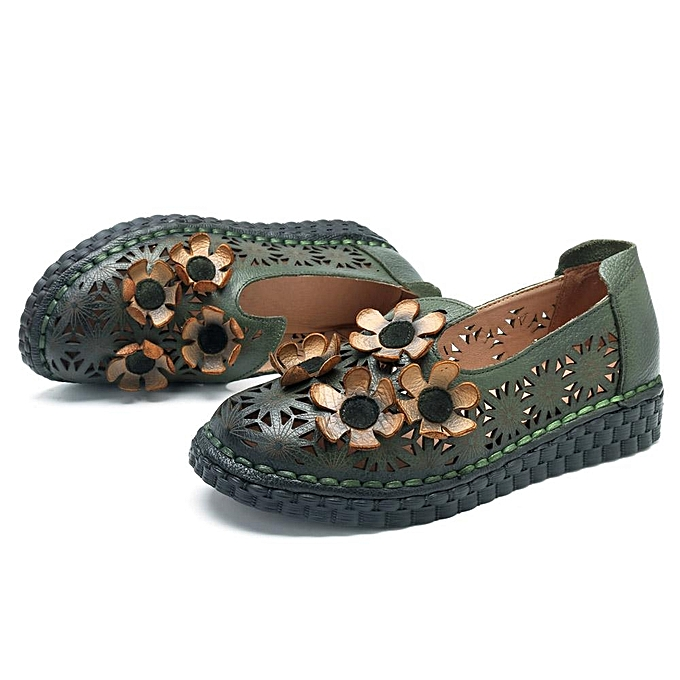 Fashion SOCOFY Out Genuine Leather Retro Handmade Shoe Hollow Out SOCOFY Flower Flats à prix pas cher    Jumia Maroc abbe30