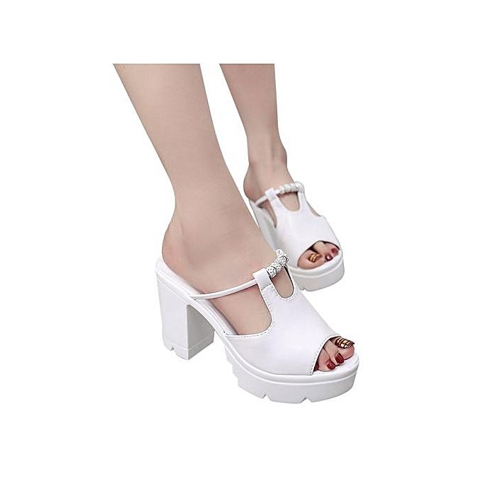 mode Jiahsyc Store femmes Fish Mouth Platform talons hauts Wedge Sandals Crystal Slope Sandals-blanc à prix pas cher