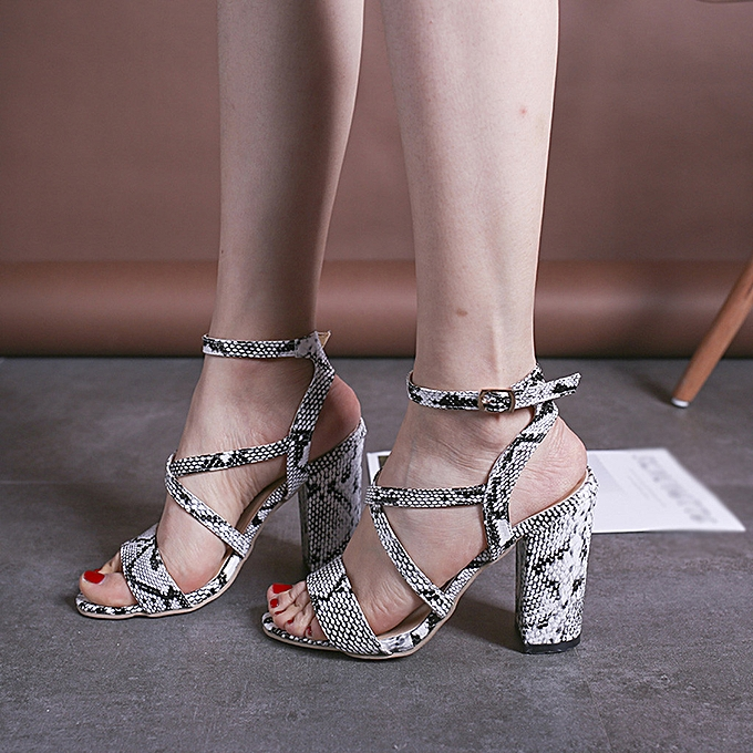 Fashion jiahsyc store Fashion femmes Fish Mouth Buckle Strap Sandals  High Heels Party Open Toe chaussures à prix pas cher