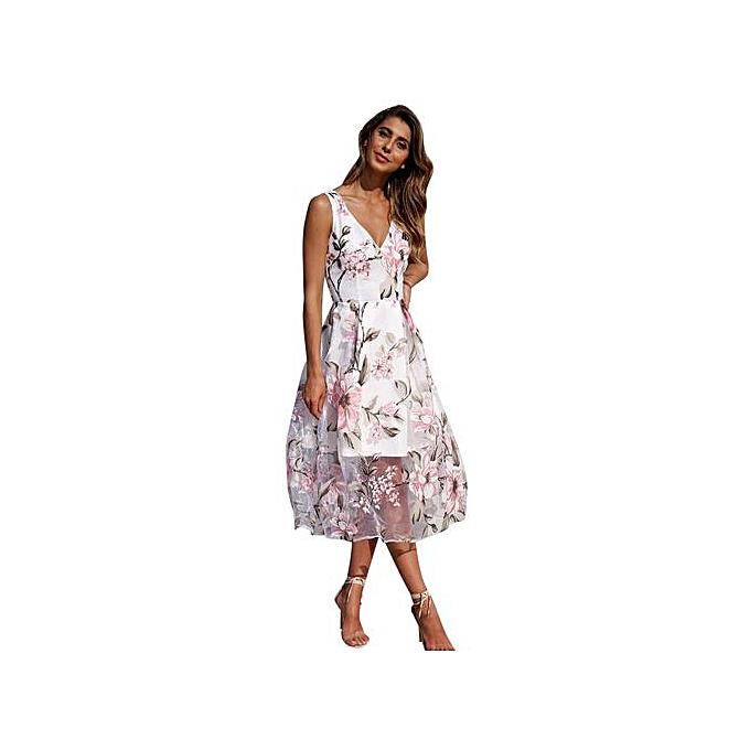 Fashion Fashion Accessories femmes Summer V-Neck Floral Printed Long Maxi Dress à prix pas cher