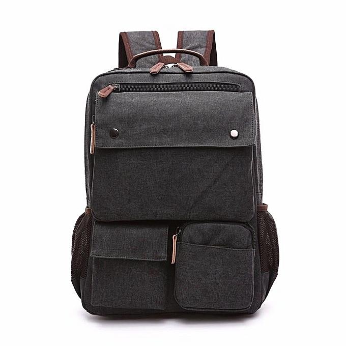 Fashion Men Canvas Big Capacity Travel Zipper Multifunctional Shoulders Bag Backpack  noir à prix pas cher