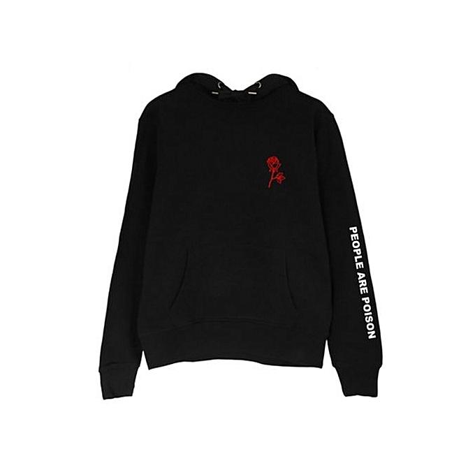 Commandez Fashion Women Red Rose Flower Print Sweatshirts Black