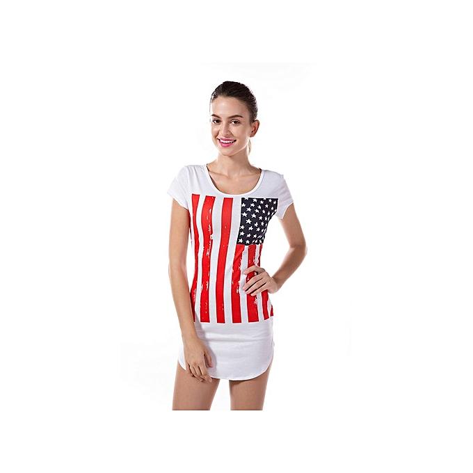OEM nouveau style nouveau Flag Printed Skinny courte Robe print Robees -blanc à prix pas cher