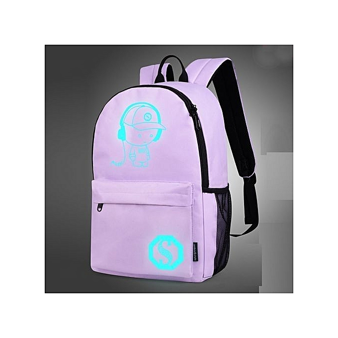 Duoya Unisex Light Preppy Teenagers Noctilucent Cartoon School Bags Student Backpack - violet à prix pas cher