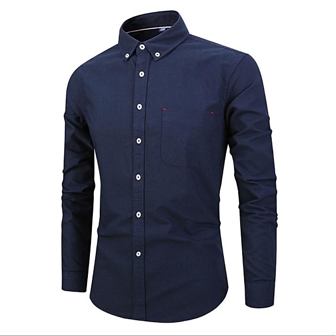 Fashion Men's Autumn New Day Oxford Shirt Men's Shirt New Simple Men's Long Sleeve Cotton Shirt-navy bleu à prix pas cher