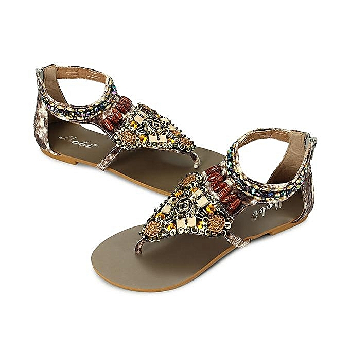 Fashion Fashion WoHommes  Bohemia Bohemia  Bead Chain Color National Wind Vintage Clip Toe Zipper Flat Sandals à prix pas cher  | Jumia Maroc abcdef
