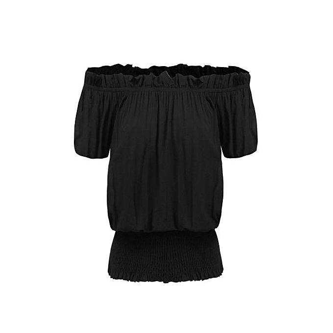Sunshine femmes Casual Slash Neck Off The Shoulder Lantern Sleeve Solid Sexy T-shirt Tops-noir à prix pas cher