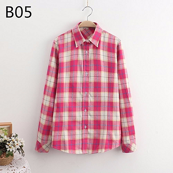 Fashion Large Taille femmes Long Sleeve Cotton Tops Wild Plaid Shirt Blouse Streetwear L à prix pas cher