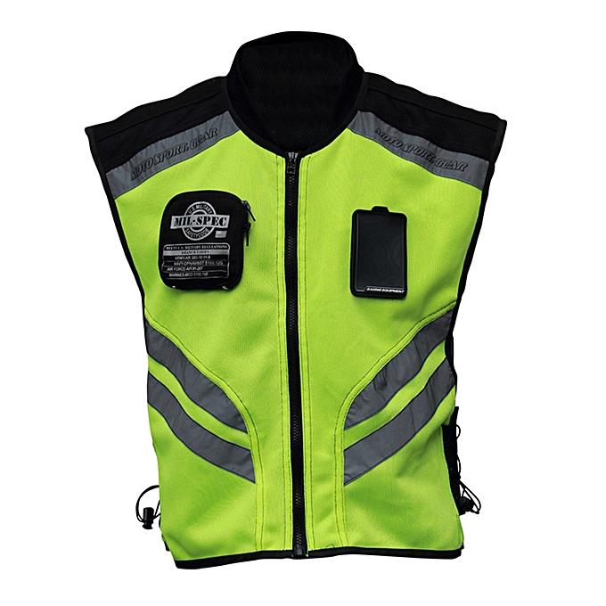 Other Sports Motorcycle Reflective Vest High Visibility Fluorescent Riding Safety Vest Racing Sleeveless Jacket Moto Gear (M) à prix pas cher