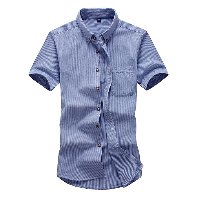 Fashion Mens Busniess vertical Striped Printing Work Casual Summer Short Sleeve Shirts à prix pas cher