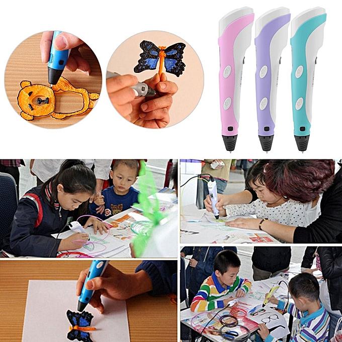 Generic Magic 3D Printer Pen Set LCD Display 3D Drawing Pen With Powerful FilaHommests-rose à prix pas cher