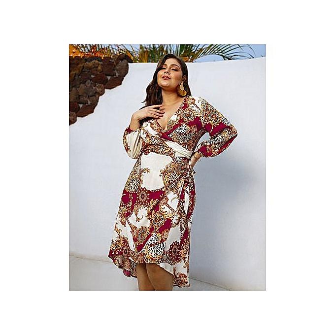AFankara rouge Plus Taille Maxi Dresses With Print à prix pas cher