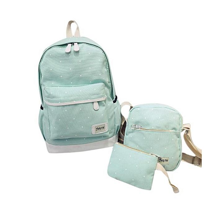 Neworldline femmes Girl Canvas Dot Backpack+Shoulder Bag+Wallet Set  BU- bleu à prix pas cher
