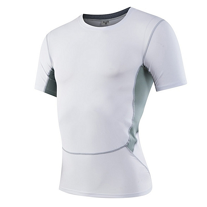 Other mode Hommes& 039;s Tight Sports Fitness T Shirt Elastic Perspiration Quick Dry Clothes-blanc à prix pas cher