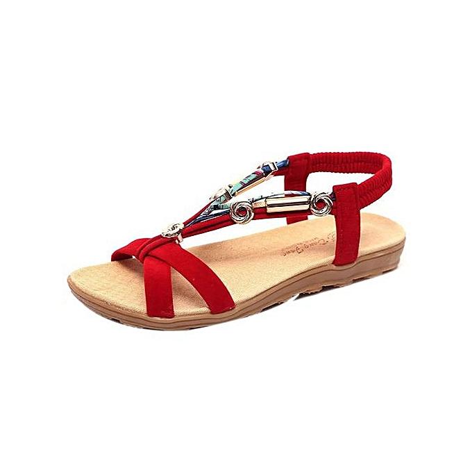 Fashion Hiamok_Wohommes Summer Sandals chaussures Peep-toe Low chaussures Roman Sandals Ladies Flip Flops à prix pas cher