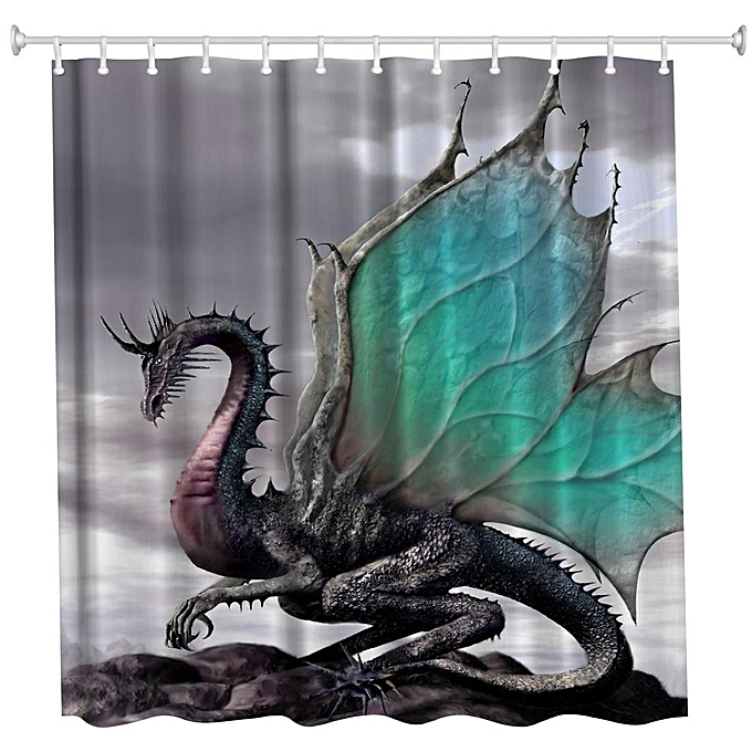 Other The Dragon Polyester Shower Curtain Bathroom Curtain High Definition 3D Printing Water-Proof à prix pas cher