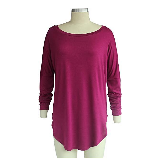 mode (Xiuxingzi) femmes mode Irregular Loose Round Collar Cotton manche longue Décontracté hauts à prix pas cher