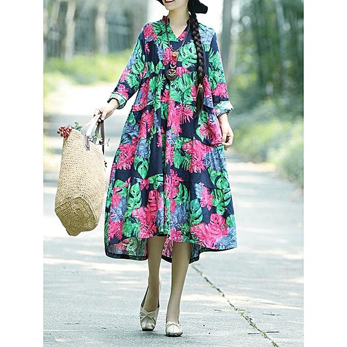 Fashion Vintage femmes Floral Print V-neck Long Sleeves Loose Dress à prix pas cher