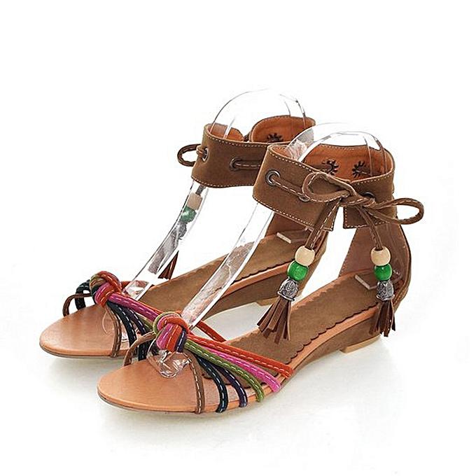 mode femmes Ankle Tassel Flats Wedge Sheos Faible-Heeled  Sandals à prix pas cher
