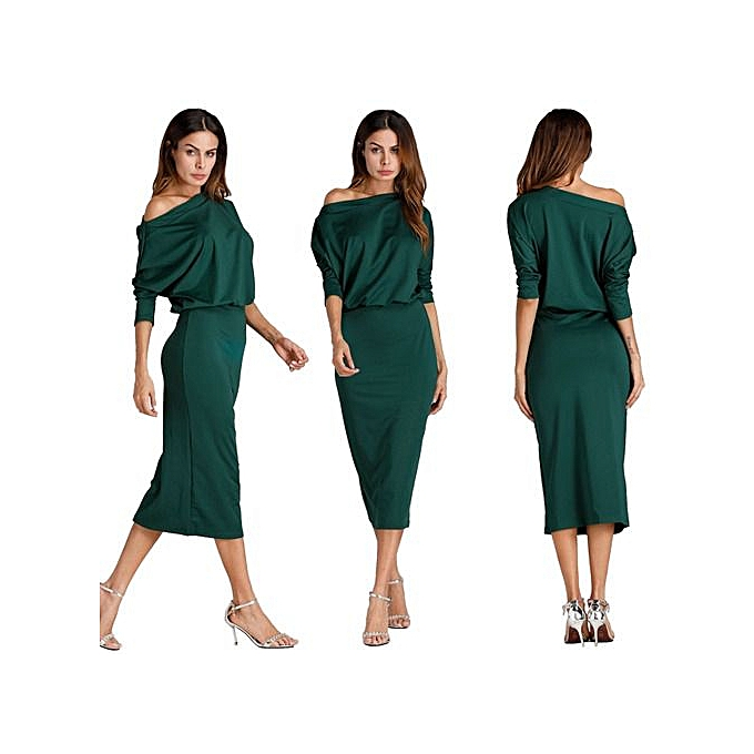 OEM autumn winter femmes Fashion sexy Inclined shoulder solid dress bodycon casual nightclub party dress-vert à prix pas cher