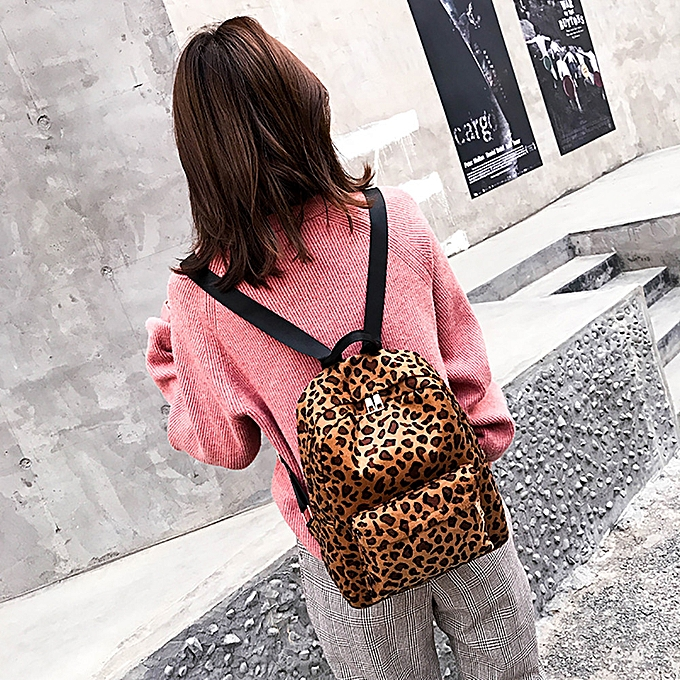 Fashion quanxinhshang_femmes Backpack Leopard Plush Backpack Personalized Student Bag à prix pas cher