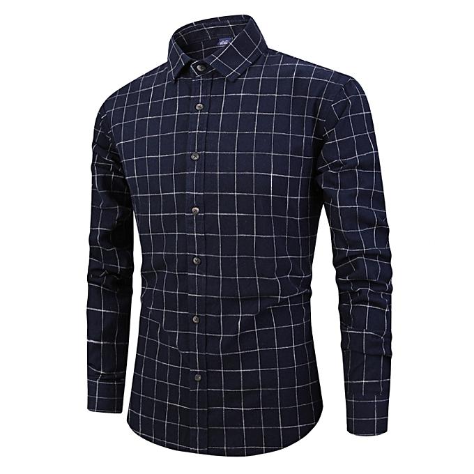 Fashion Japanese retro casual sanded plaid long-sleeved hommes shirt cotton versatile shirt-navy bleu à prix pas cher