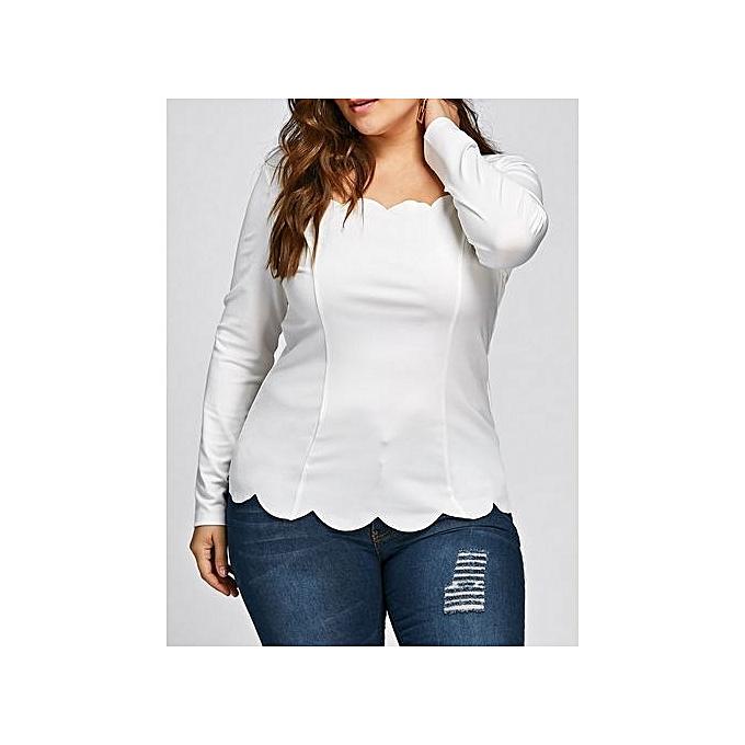 Generic HL Plus Taille Scalloped Square Neck manche longue Top (blanc)(XL-4XL) à prix pas cher