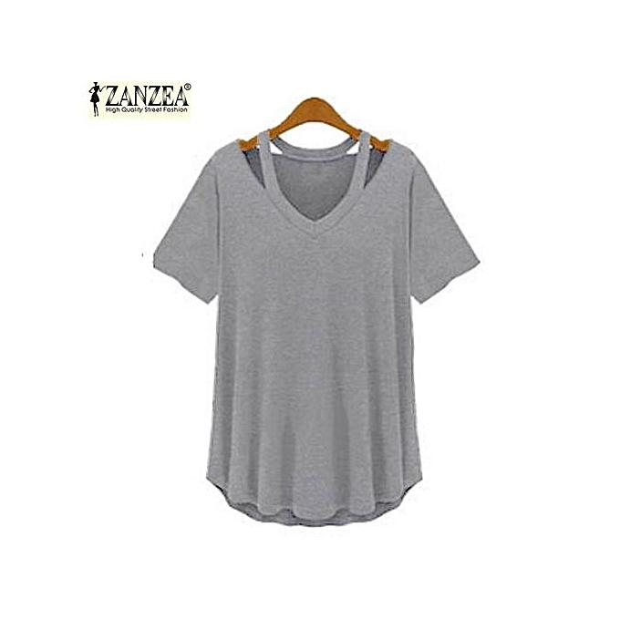 Zanzea ZANZEA femmes manche courte Deep V Plus Asymmetrical T-Shirt chemisier hauts Tee (gris) à prix pas cher