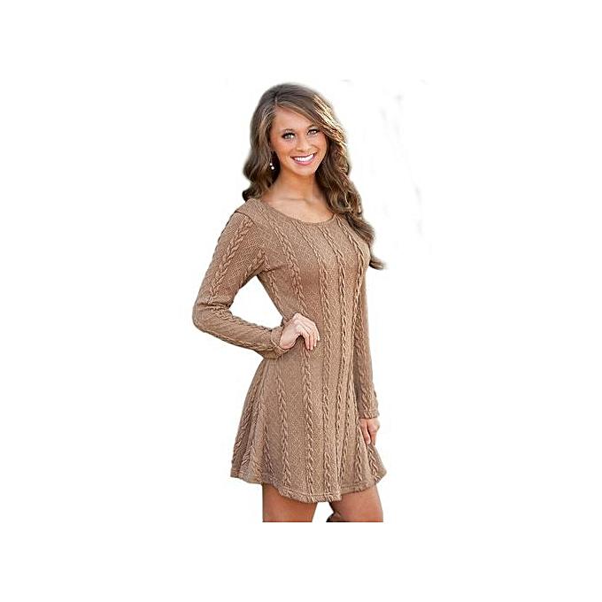 Sunweb femmes Sweet Casual O-Neck Long Sleeve Knitting Dress Solid Mini Dress (marron) à prix pas cher