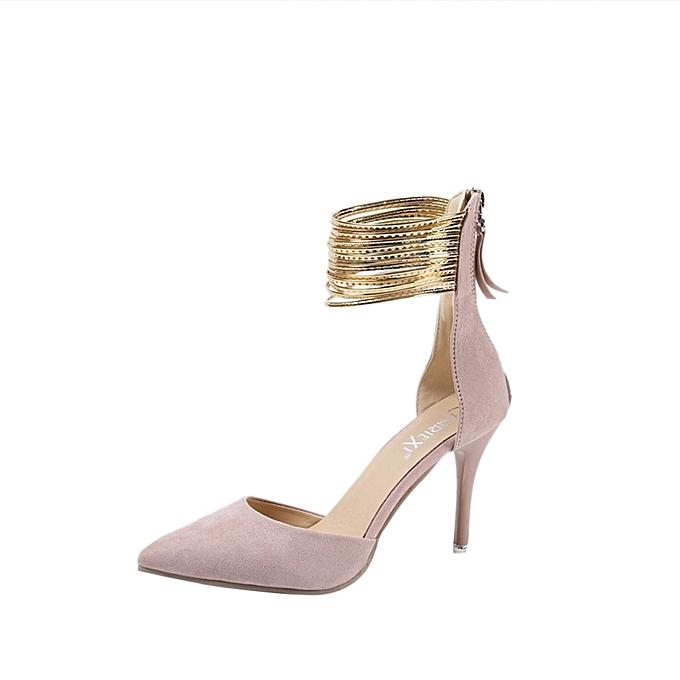 Fashion WoHommes  Fashion Solid Solid Fashion Thin Heels Pointed Toe Wedges High Heeled Shoes Pink - à prix pas cher    Jumia Maroc db6ac9