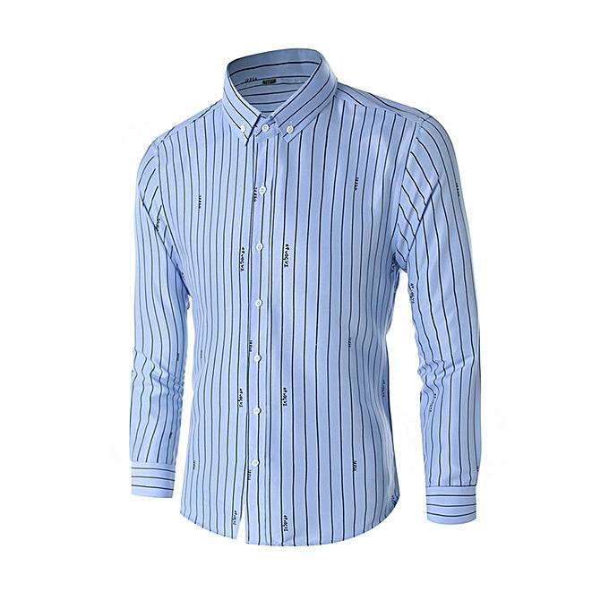 mode Hommes& 039;s Affaires Leisure Long-sleeved Vertical Stripe impression Shirt à prix pas cher