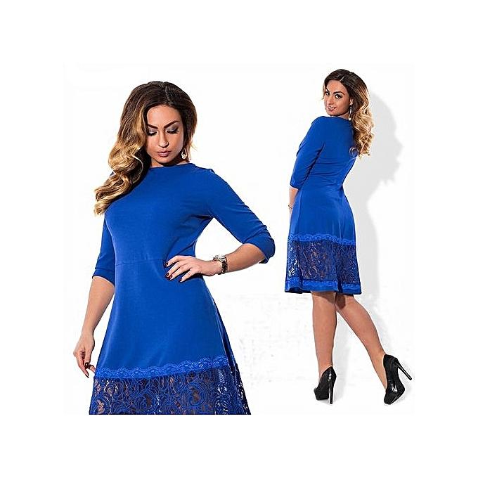 Fashion High Quality femmes Fashion 2017 New Autumn Dress 6xl Large Taille Vintage Retro Dress For Fat Robe Femme Lady Bodycon Clothes-bleu à prix pas cher