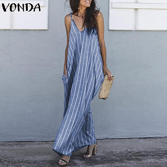 Zanzea femmes Summer Beach Sundress Loose Striped Strap Sleeveless Long Maxi Dress à prix pas cher