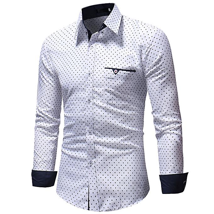 mode Hommes& 039;s Autumn Décontracté Formal Polka Dot Slim Fit manche longue Robe Shirt Top chemisier à prix pas cher