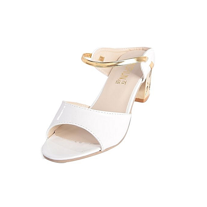 Fashion Bliccol High Heel chaussures Summer Rough Sandals femme Open Toe Fish Mouth High Heel Comfortable chaussures WH 35-blanc à prix pas cher