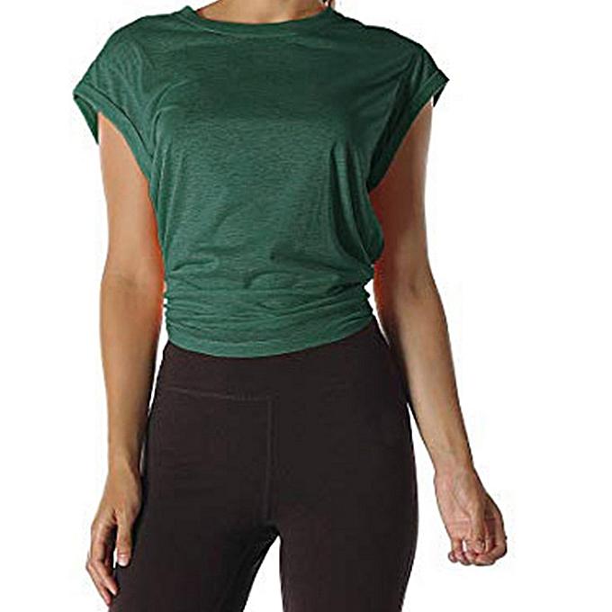 Fashion femmes Open Back Workout Top Shirts  Yoga Activewear Exercise Tops T Shirts à prix pas cher