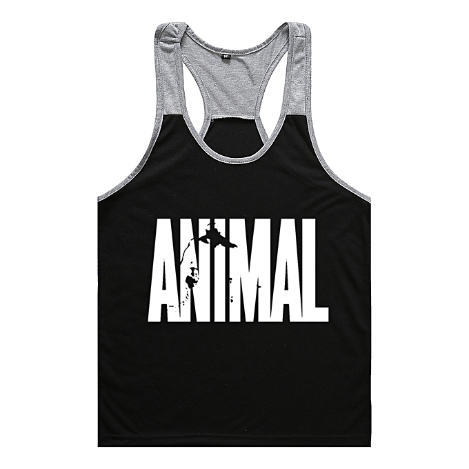 Other Men's Body Building Muscle Sportswear Alphabet Printed Vest-noir à prix pas cher