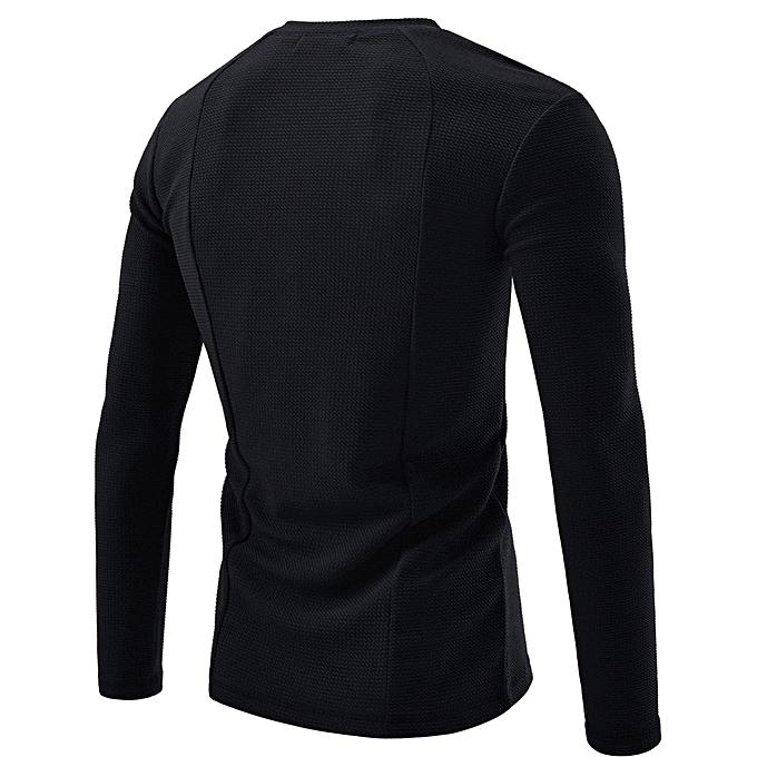 Fashion Men Shirt Fashion Solid Couleur Male Casual Long Sleeve Shirt BK L à prix pas cher