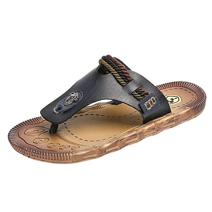 Fashion (Xiuxingzi) Men's Fashion Casual Flat Flip Flops Slippers Beach Sandals Outdoor Skid chaussures à prix pas cher