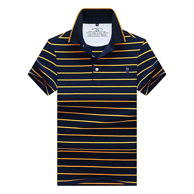 mode Hommes& 039;s manche courte Lapel Cotton rayé Polo Shirt - jaune8121 à prix pas cher