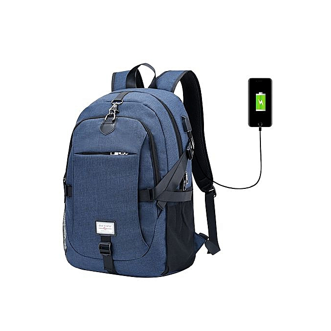 Fashion Singedan2017 Male Oxford Multifunction USB Charging Backpack College School Backpack -bleu à prix pas cher