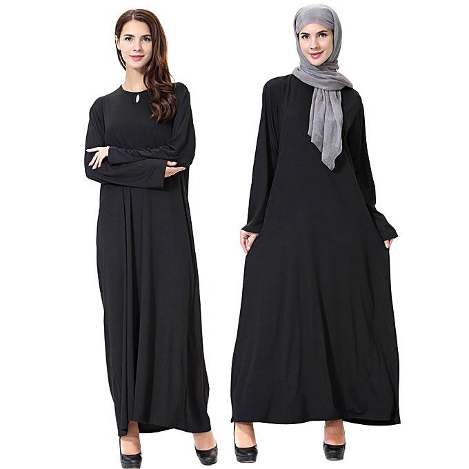 Fashion whiskyky store femmes Lady Daily Casual Muslim Soild Long Sleeve Long Vintage Fasion Dresses à prix pas cher