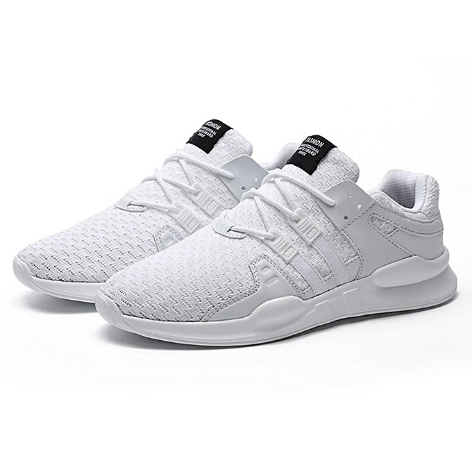 Generic UJ Casual Men Breathable Knitted Mesh Sport Running chaussures Lace Up baskets-blanc à prix pas cher