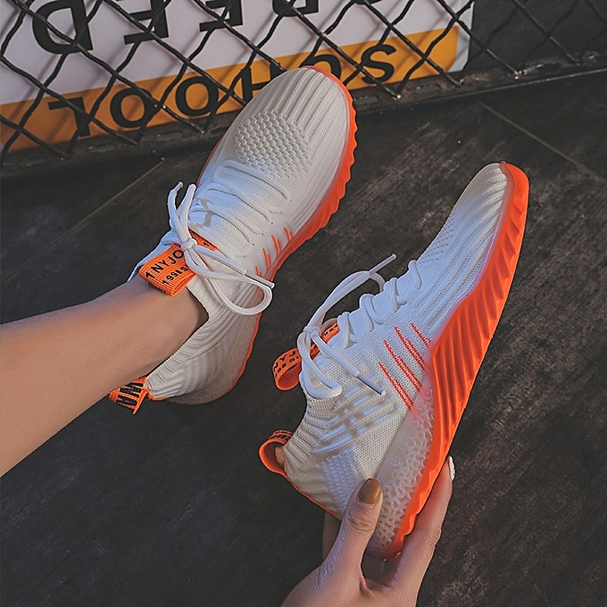 Other Stylish Elastic Socks chaussures Breathable Flying Weaving Sports chaussures for femmes -blanc Orange à prix pas cher    Jumia Maroc