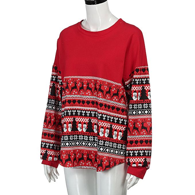 Fashion Hiamok femmes Merry Christmas Long Sleeve Loose Tops Blouse T-Shirt Hoodies RD L à prix pas cher